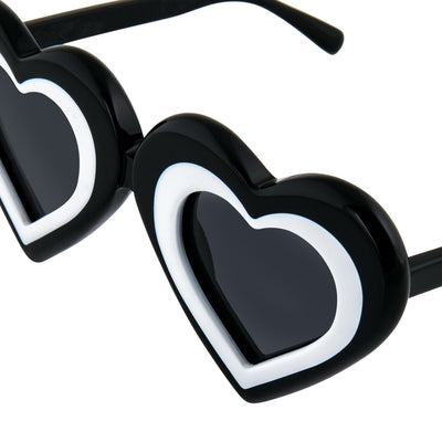 Yaz Bukey Women Sunglasses Love Heart Black/White With Grey Lenses Category 3 YAZ7C2SUN - Watches & Crystals