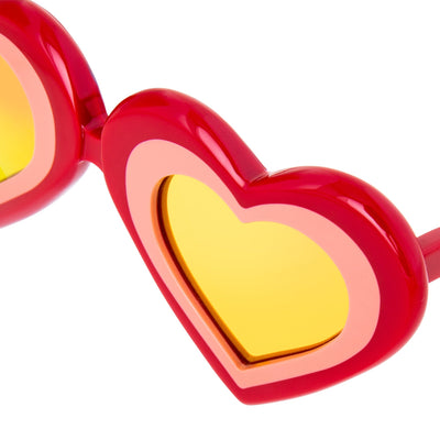 Yaz Bukey Women Sunglasses Love Heart Red/Pink With Peach Mirror Lenses Category 3 YAZ7C1SUN - Watches & Crystals