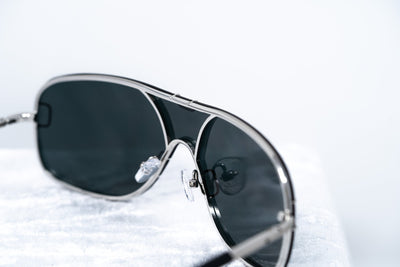 Yohji Yamamoto Unisex Sunglasses Brushed Silver and Grey Lenses Category 4 - YY10ROCKERC1SUN - Watches & Crystals