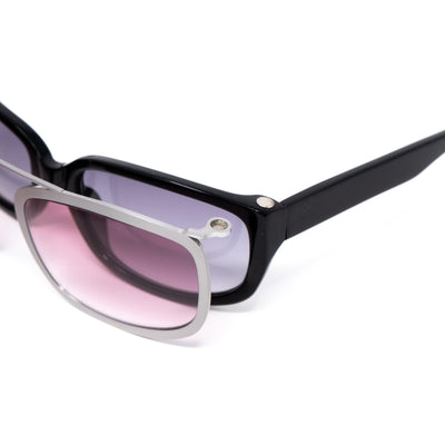 Yohji Yamamoto Unisex Sunglasses D-Frame Black Silver Magnetised Metal Rim With Grey/Pink Graduated Lenses - 9YY800C2BLACK - Watches & Crystals