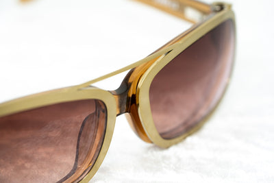 Yohji Yamamoto Unisex Sunglasses D-Frame Brown Gold Magnetised Metal Rim With Brown/Pink Graduated Lenses - 9YY800C3TOBACCO - Watches & Crystals