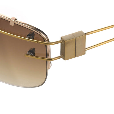 Yohji Yamamoto Unisex Sunglasses Rectangular Gold and Brown Graduated Lenses - 9YY100C3ANTIQUEGOLD - Watches & Crystals