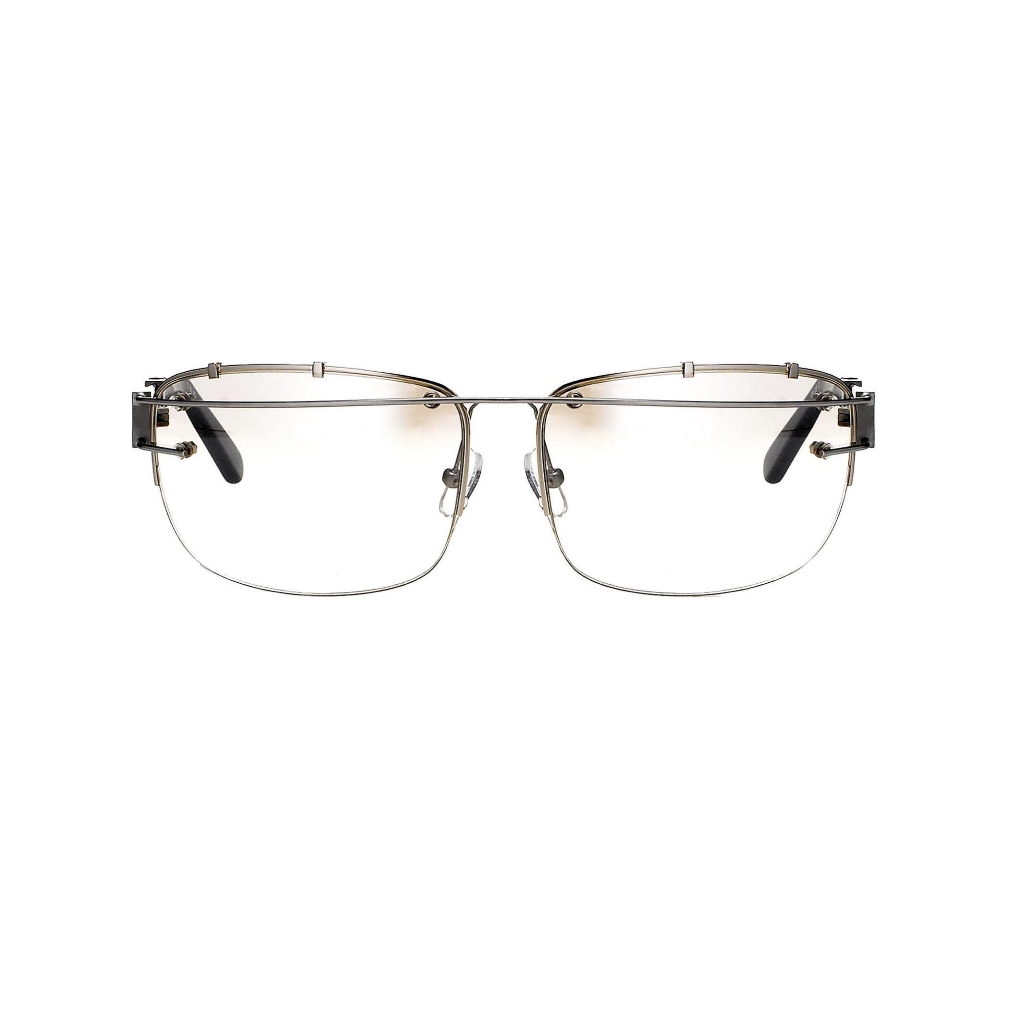 Yohji Yamamoto Unisex Sunglasses Rectangular Silver and Brown Graduated Lenses - 9YY100C2SHINYSILVER - Watches & Crystals