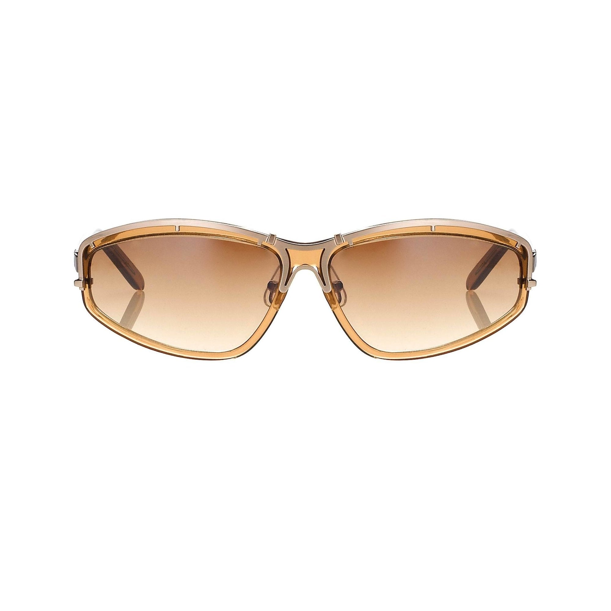 Yohji Yamamoto Unisex Sunglasses Rectangular Tobacco Brown and Brown Graduated Lenses - 9YY900C3TOBACCO - Watches & Crystals