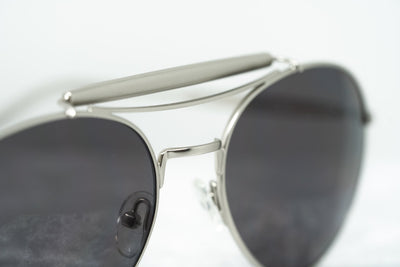 Yohji Yamamoto Unisex Sunglasses Round Silver and Dark Grey Lenses Category 3 - YY12RIDERC1SUN - Watches & Crystals