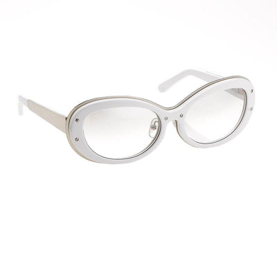 Yohji Yamamoto Women Sunglasses Cat Eye White/Silver and Clear Lenses - 9YYHDRAGONFLYC3WHT - Watches & Crystals
