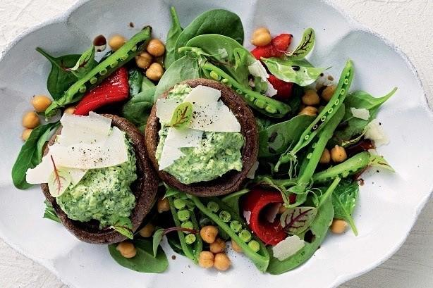 Roasted Mushrooms with Spinach and Ricotta