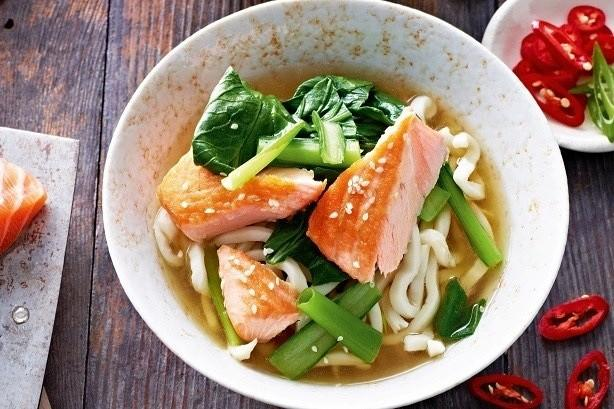 Miso Broth with Sesame Salmon & Buckwheat Udon Noodles