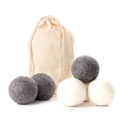 grey and white dryer ball set with bag