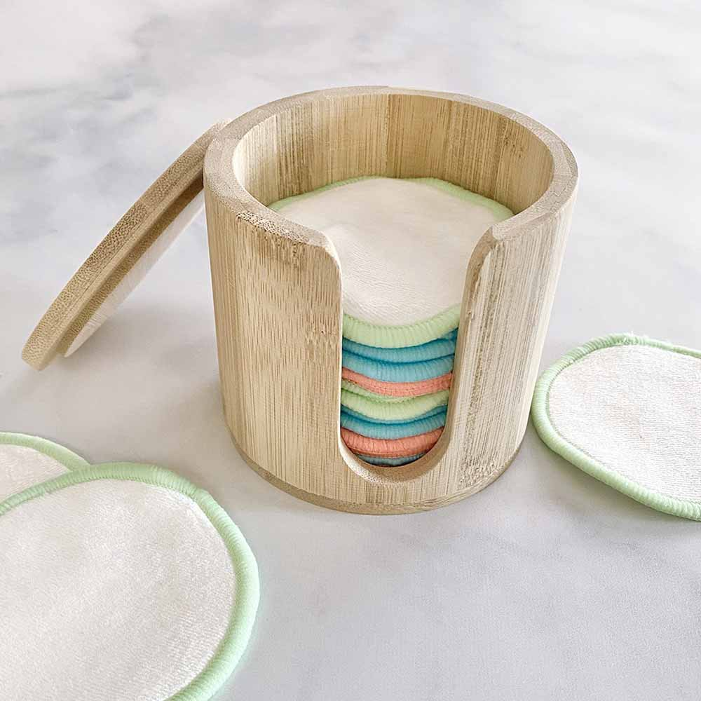 bamboo reusable cotton round canister