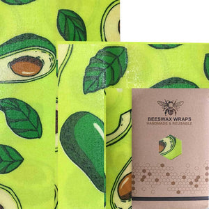Reusable Cotton Beeswax Food Wrap - Avocado