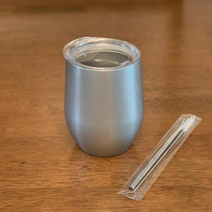 insulated wine tumbler with lid - brushed stainless