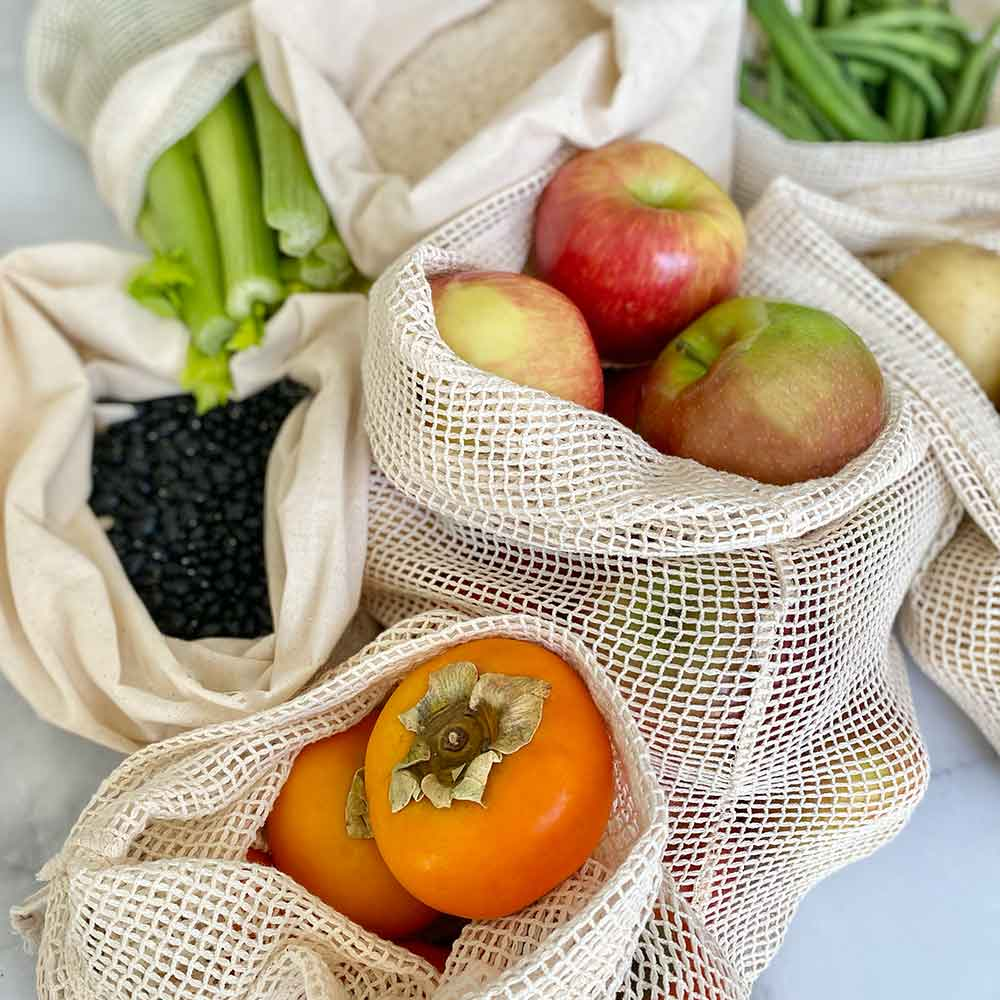 reusable produce bags for fruits and veggies
