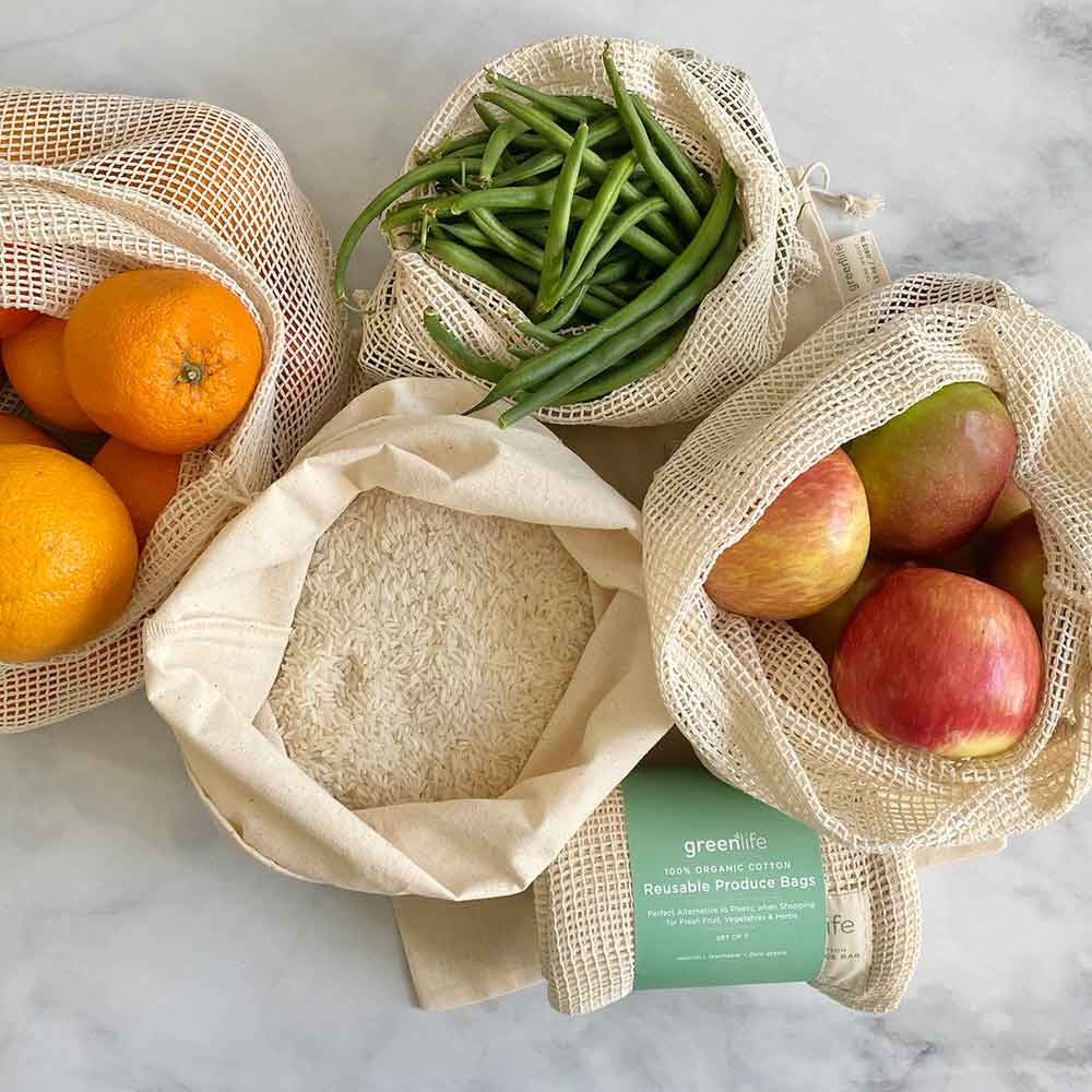 Organic Cotton Reusable Produce Bags (Set of 7)