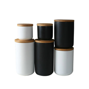 Ceramic Food Storage Jars with Bamboo Lid