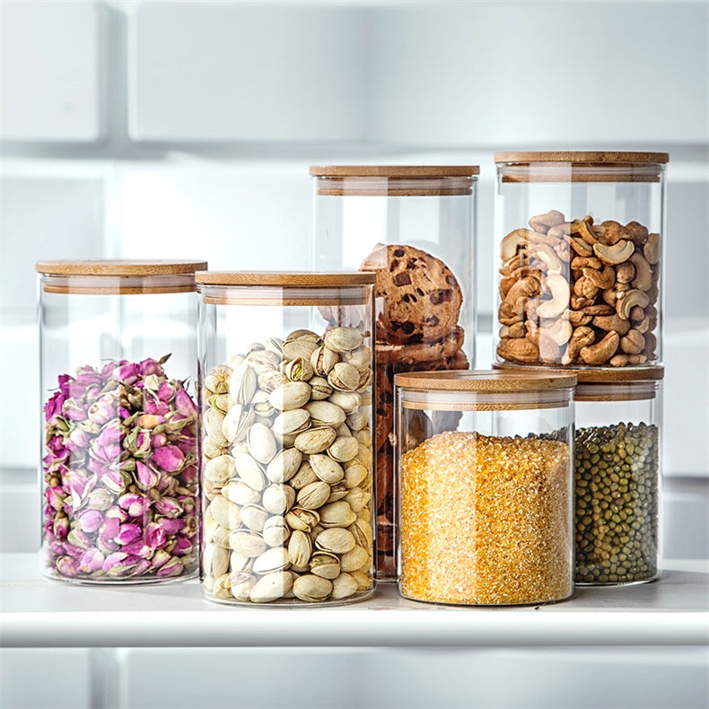 Glass Food Storage Jars with Bamboo Lid