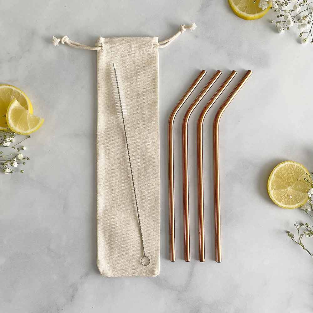 rose gold metal straw set