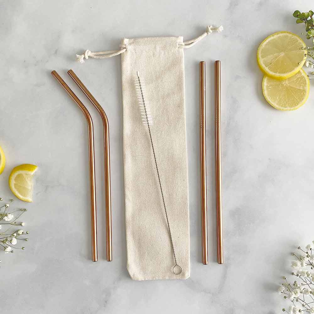 rose gold metal straws set