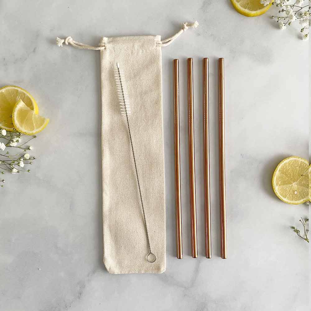 rose gold straw travel set
