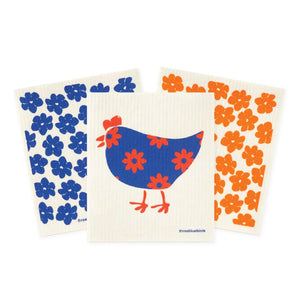 three bluebirds swedish dishcloths