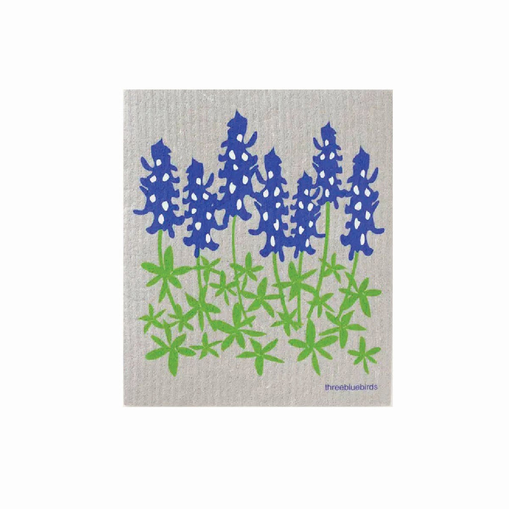 blue bonnet flower swedish dishcloth