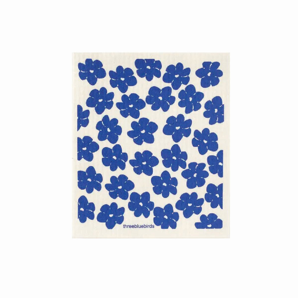 Blue poppies swedish dishcloth