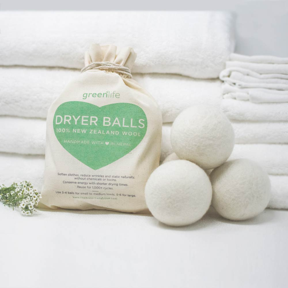 white wool dryer balls with bag