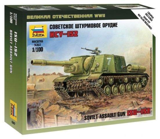 Zvezda 1/100 ISU152 Self-Propelled Gun Tank Snap Kit