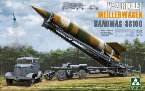 Takom 1/35 WWII German V2 Rocket on Meillerwagen Transporter w/Hanomag SS100 Tractor Kit