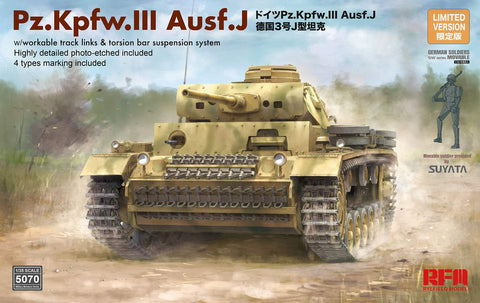 Rye Field 1/35 PzKpfw III Ausf J Tank w/Workable Track Links & Movable Figure Kit
