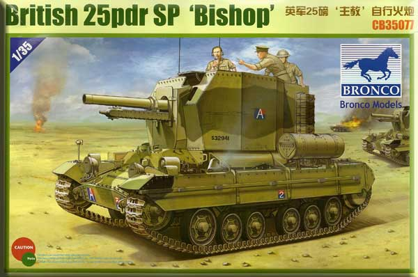 Bronco Military 1/35 British Bishop Self-Propelled Artillery Vehicle w/25-Pdr Howitzer Gun Kit