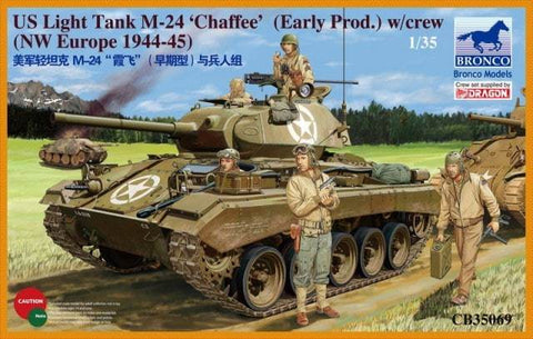 Bronco Military 1/35 US Light Tank M24 Chaffee Early Production Tank w/Crew NW Europe 1944-45 Kit