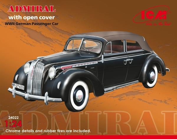 ICM 1/24 WWII German Admiral Convertible Passenger Car w/Cover Kit