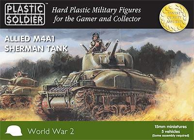 Plastic Soldier 15mm WWII Allied M4A1 Sherman Tank (5) Kit