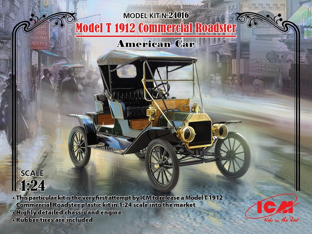 ICM Military 1/24 American Model T 1912 Commercial Roadster Car Kit