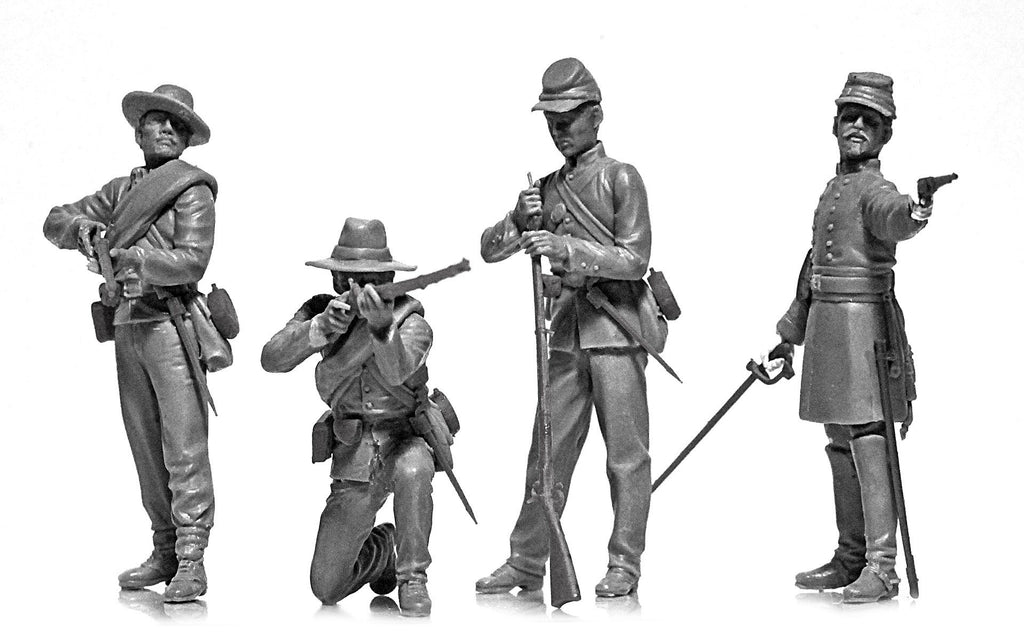 ICM Military Models 1/35 American Civil War Confederate Infantry (4) (New Tool) Kit