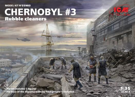 ICM Military Models 1/35 Chernobyl #3: Rubble Cleaners Diorama Set (5 figures, base, background) Kit