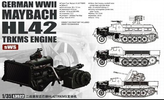 Lion Roar Military 1/35 WWII German sWS Halftrack Maybach HL42 TRKMS Engine Kit