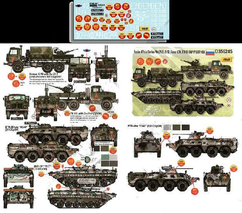 Echelon Decals 1/35 Russian AFVs in Chechen War Pt.2 Zil131, Kamaz4310, BTR80, BMP1P & BTR80A