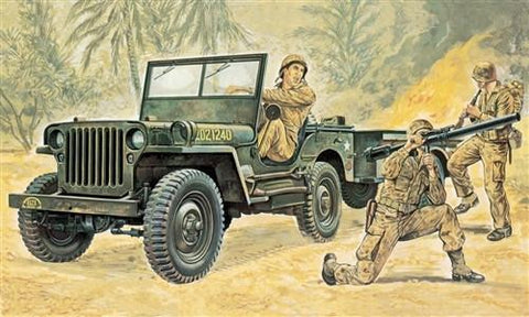 Italeri Military 1/35 Jeep w/Trailer Kit