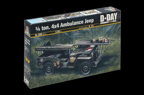 Italeri Military 1/35 1/4-Ton 4x4 Ambulance Jeep D-Day Kit