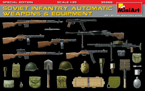 MiniArt Military Models 1/35 Soviet Infantry Automatic Weapons & Equipment Special Edition Kit