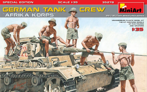 MiniArt 1/35 German Tank Crew Afrika Korps (5) w/Weapons (Special Edition) Kit