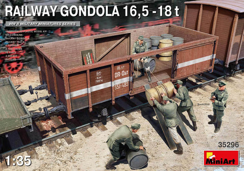 MiniArt 1/35 WWII 16.5 18-Ton Railway Gondola w/Figures & Accessories Kit