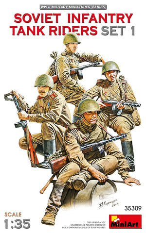 MiniArt Military 1/35 WWII Soviet Infantry Tank Riders Set 1 (4) Kit