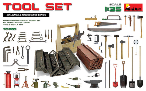 MiniArt Military 1/35 Tool Set: Various Tools & Boxes Kit