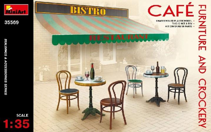 MinkiArt Military Models 1/35 Café Furniture Tables & Chairs w/Accessories Kit