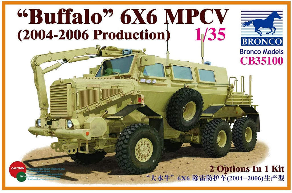 Bronco Military 1/35 Buffalo 6x6 MPCV (2004-06 Production) Multi-Purpose Crew Vehicle (2 in 1) Kit