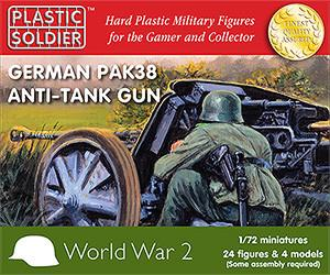Plastic Soldier 1/72 WWII German Pak38 Anti-Tank Gun (4) & Crew (24) Kit