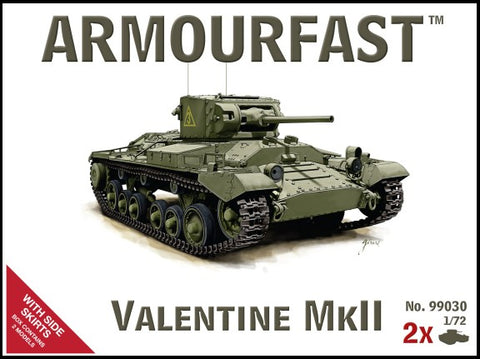 Armourfast Military 1/72 Valentine Mk II Tank w/Side Skirts (2) Kit